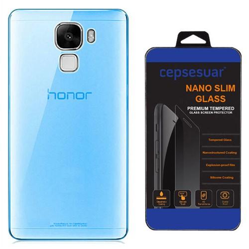 Cepsesuar Türk Telekom Honor 7 Kılıf Silikon 0.2 Mm Mavi + Kırılmaz Cam
