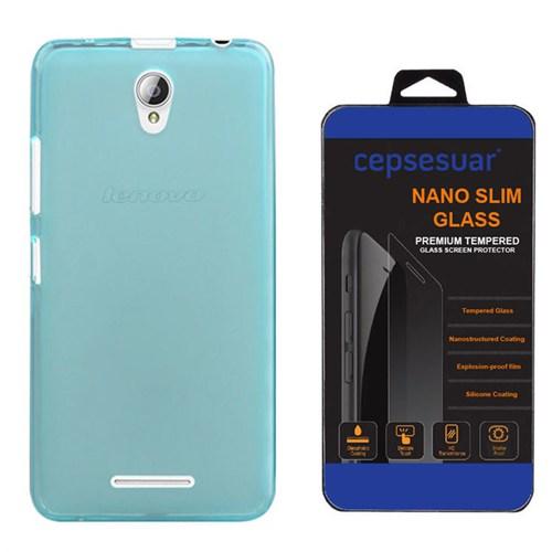Cepsesuar Lenovo A5000 Kılıf Silikon 0.2 Mm Mavi + Kırılmaz Cam