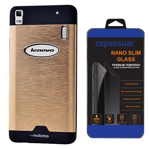 Cepsesuar Lenovo A7000 (K3 Note) Kılıf Motomo Gold + Kırılmaz Cam