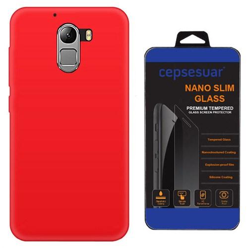 Cepsesuar Lenovo Vibe K4 Note A7010 Kılıf Silikon Kırmızı + Kırılmaz Cam