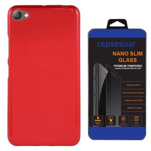 Cepsesuar Lenovo S60 Kılıf Silikon Kırmızı + Kırılmaz Cam