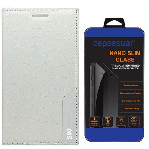 Cepsesuar Lenovo S90 Sisley Kılıf Rock Kapaklı Beyaz + Kırılmaz Cam