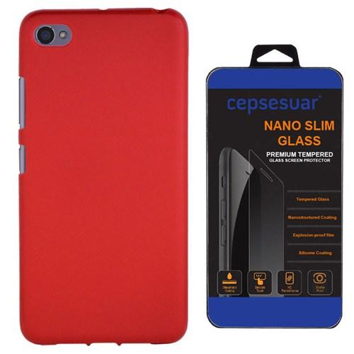 Cepsesuar Lenovo S90 Sisley Kılıf Silikon Kırmızı + Kırılmaz Cam
