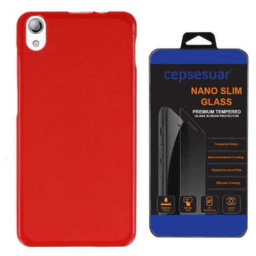 Cepsesuar Lenovo S850 Kılıf Silikon Kırmızı + Kırılmaz Cam