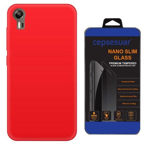 Cepsesuar Lenovo Vibe Shot Z90 Kılıf Silikon Kırmızı + Kırılmaz Cam