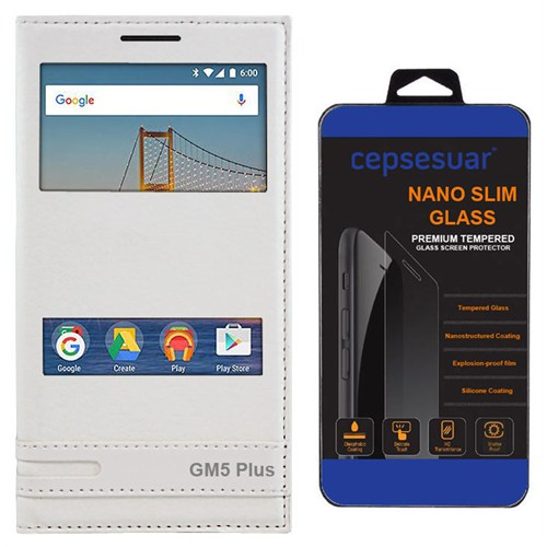 Cepsesuar General Mobile Gm 5 Plus Kılıf Elite Pencereli Beyaz + Kırılmaz Cam