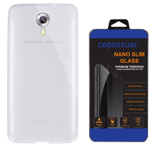 Cepsesuar General Mobile 4G Android One Kılıf Silikon 0.2 Mm Şeffaf + Kırılmaz Cam