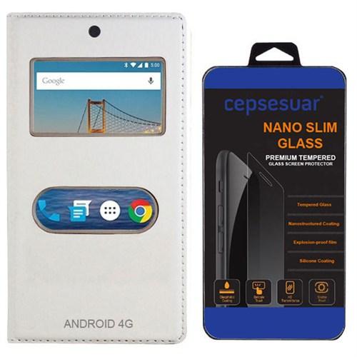 Cepsesuar General Mobile 4G Android One Kılıf Dolce Kapaklı Beyaz + Kırılmaz Cam