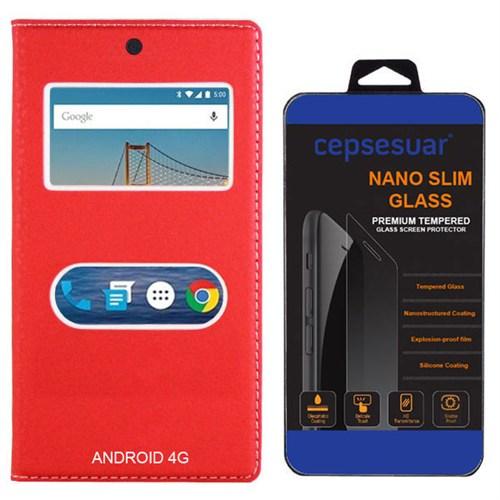Cepsesuar General Mobile 4G Android One Kılıf Dolce Kapaklı Kırmızı + Kırılmaz Cam