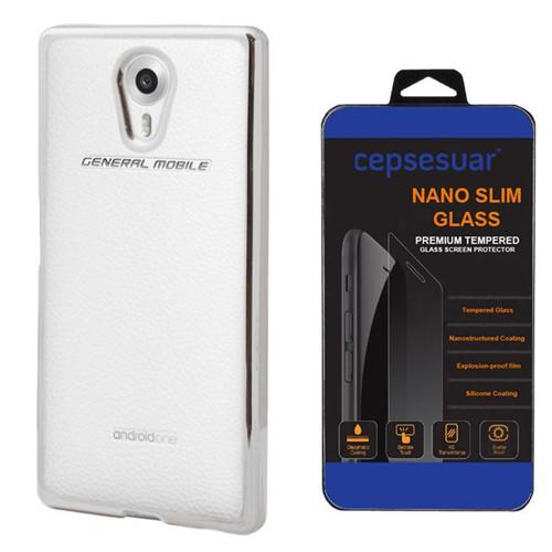 Cepsesuar General Mobile 4G Android One Kılıf Silikon Lazer Gümüş + Kırılmaz Cam