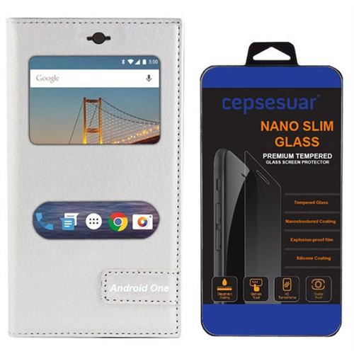 Cepsesuar General Mobile 4G Android One Kılıf Safir Pencereli Beyaz + Kırılmaz Cam