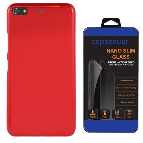 Cepsesuar General Mobile Discovery Elite Plus Kılıf Silikon Kırmızı + Kırılmaz Cam