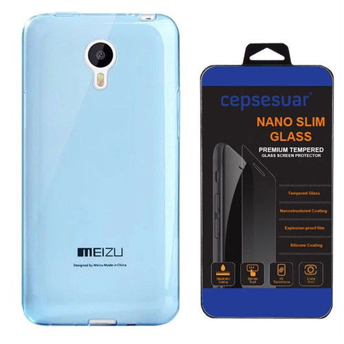 Cepsesuar Meizu M1 Note Kılıf Silikon 0.2 Mm Mavi + Kırılmaz Cam