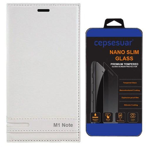 Cepsesuar Meizu M1 Note Kılıf Elite Kapaklı Beyaz + Kırılmaz Cam
