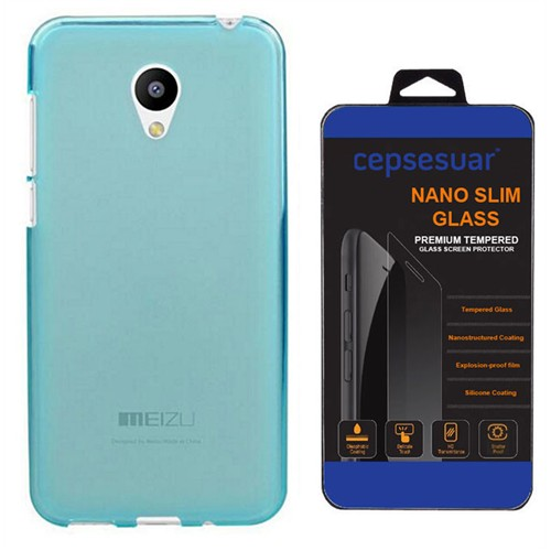 Cepsesuar Meizu M2 Note Kılıf Silikon 0.2 Mm Mavi + Kırılmaz Cam