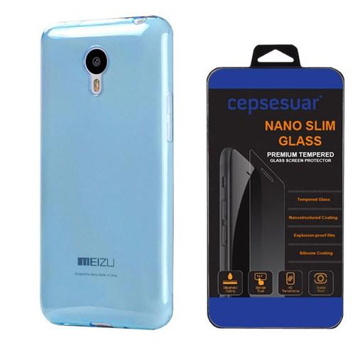 Cepsesuar Meizu Mx4 Kılıf Silikon 0.2 Mm Mavi + Kırılmaz Cam