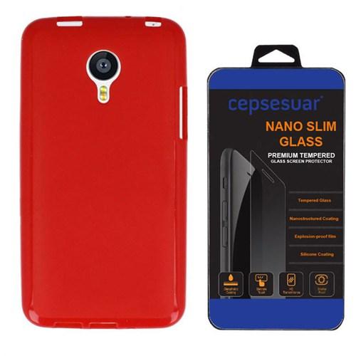 Cepsesuar Meizu Mx4 Kılıf Silikon Kırmızı + Kırılmaz Cam