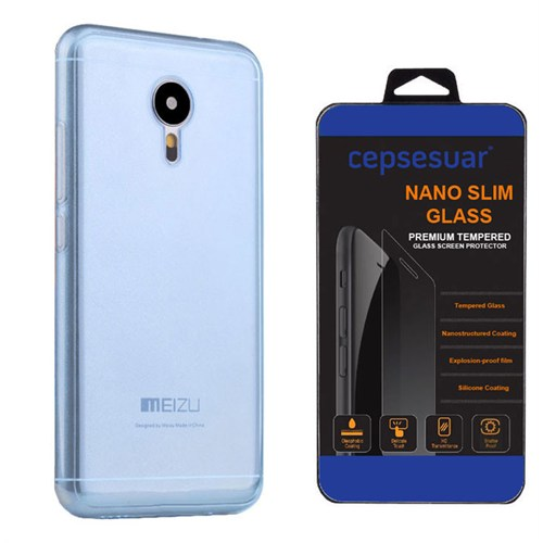 Cepsesuar Meizu Mx5 Kılıf Silikon 0.2 Mm Mavi + Kırılmaz Cam