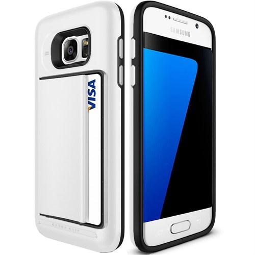 Cepsesuar Samsung Galaxy S7 Edge Kılıf Arkası Kartlıklı Beyaz