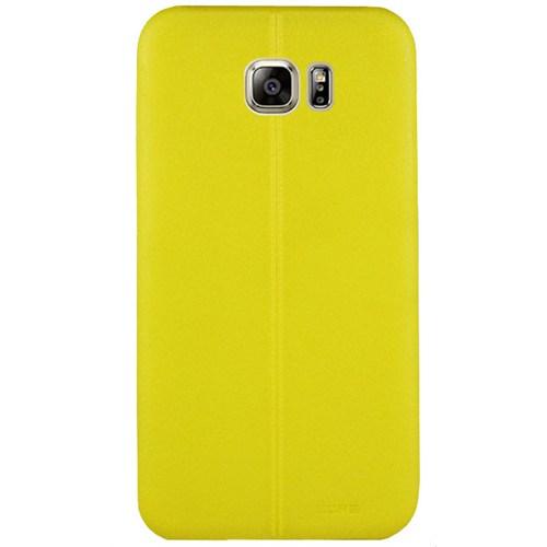 Cepsesuar Samsung Galaxy S7 Edge Kılıf Silikon Dikişli Sarı