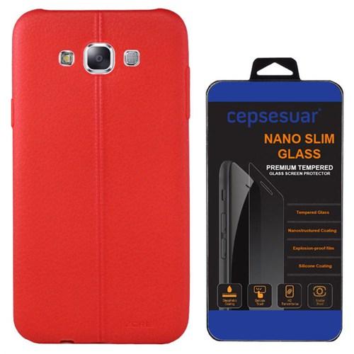 Cepsesuar Samsung Galaxy A8 Kılıf Silikon Dikişli Kırmızı + Kırılmaz Cam