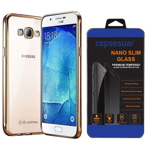 Cepsesuar Samsung Galaxy A8 Kılıf Silikon Lazer Gold + Kırılmaz Cam