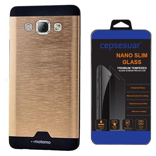 Cepsesuar Samsung Galaxy A8 Kılıf Motomo Gold + Kırılmaz Cam