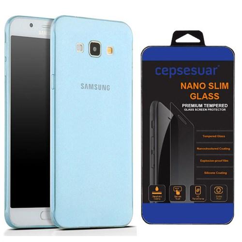 Cepsesuar Samsung Galaxy A8 Kılıf Silikon 0.2 Mm Mavi + Kırılmaz Cam
