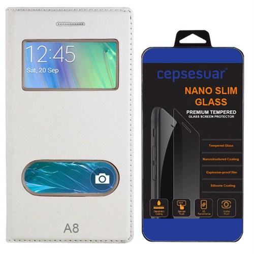 Cepsesuar Samsung Galaxy A8 Kılıf Kapaklı Dolce Beyaz + Kırılmaz Cam