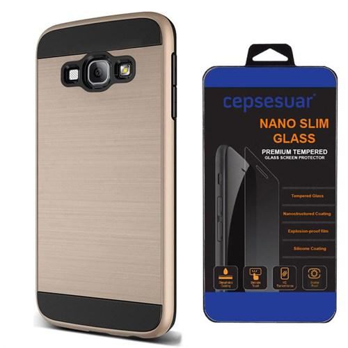 Cepsesuar Samsung Galaxy A8 Kılıf Design Gold + Kırılmaz Cam