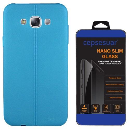Cepsesuar Samsung Galaxy E7 Kılıf Silikon Dikişli Mavi + Kırılmaz Cam