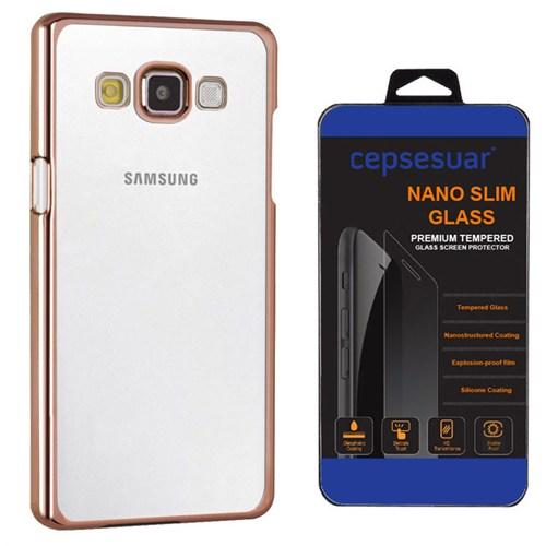 Cepsesuar Samsung Galaxy E7 Kılıf Silikon Lazer Gold + Kırılmaz Cam
