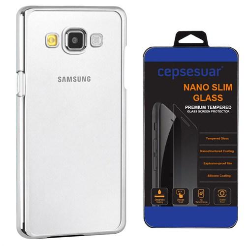 Cepsesuar Samsung Galaxy E7 Kılıf Silikon Lazer Gümüş + Kırılmaz Cam