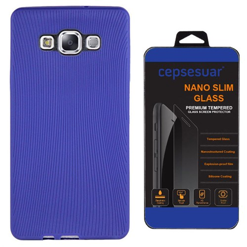 Cepsesuar Samsung Galaxy E5 Kılıf Line Lacivert + Kırılmaz Cam