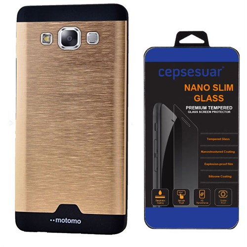 Cepsesuar Samsung Galaxy E7 Kılıf Motomo Gold + Kırılmaz Cam