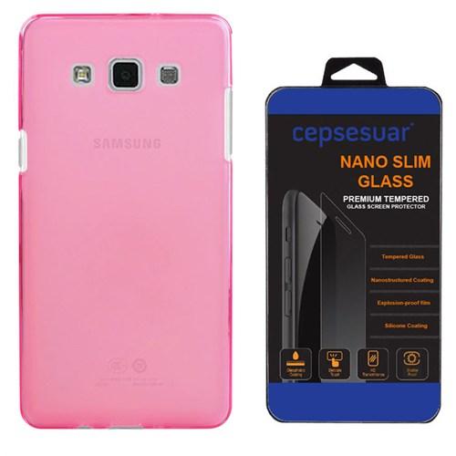Cepsesuar Samsung Galaxy E5 Kılıf Silikon 0.2 Mm Pembe + Kırılmaz Cam