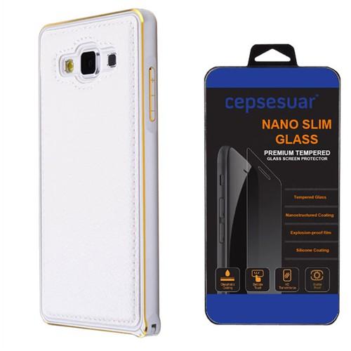 Cepsesuar Samsung Galaxy E7 Kılıf Arkası Deri Bumper Beyaz + Kırılmaz Cam