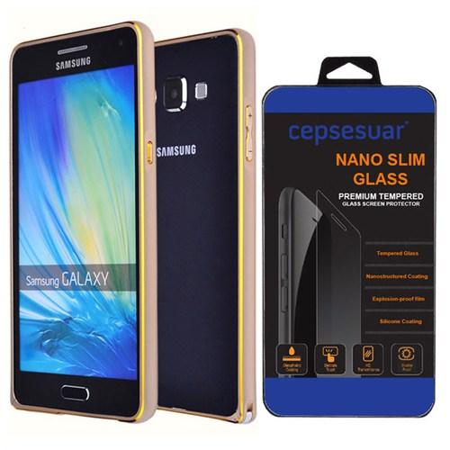 Cepsesuar Samsung Galaxy E5 Kılıf Bumper Gold + Kırılmaz Cam