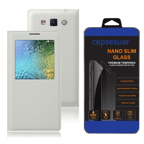 Cepsesuar Samsung Galaxy E5 Kılıf Flip Cover Beyaz + Kırılmaz Cam