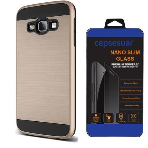 Cepsesuar Samsung Galaxy E5 Kılıf Design Gold + Kırılmaz Cam