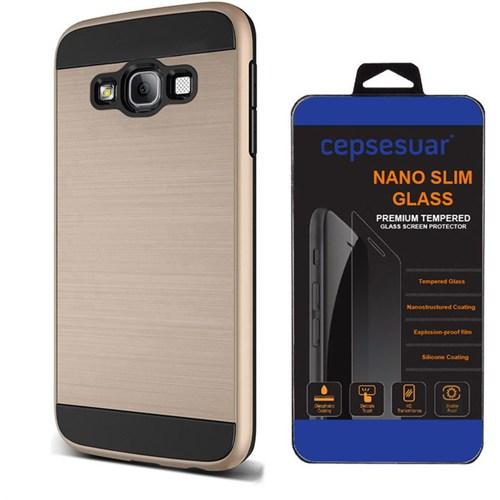 Cepsesuar Samsung Galaxy E7 Kılıf Design Gold + Kırılmaz Cam
