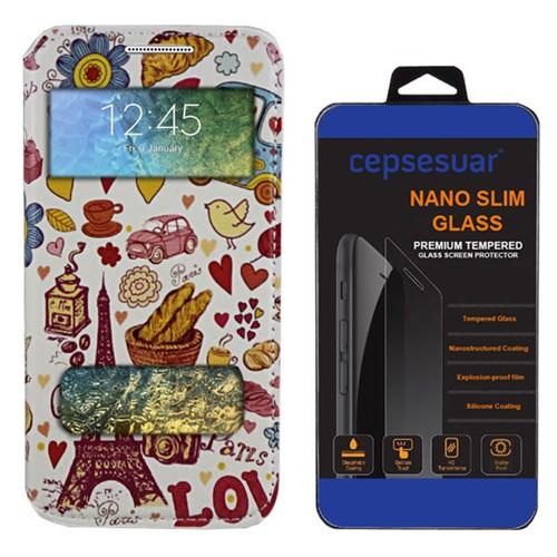 Cepsesuar Samsung Galaxy E7 Kılıf Standlı Paris Love + Kırılmaz Cam