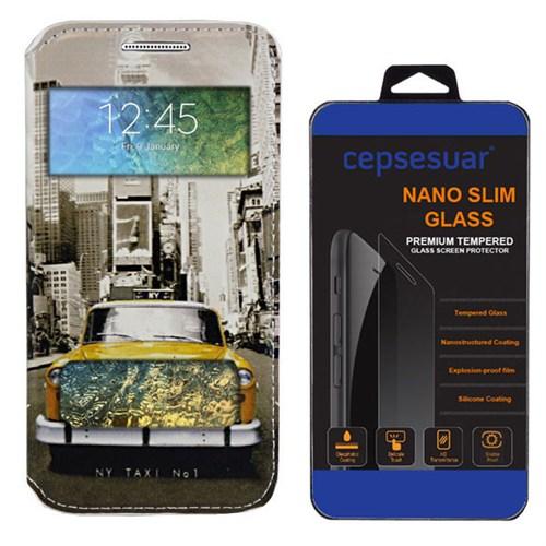 Cepsesuar Samsung Galaxy E7 Kılıf Standlı Taksi + Kırılmaz Cam