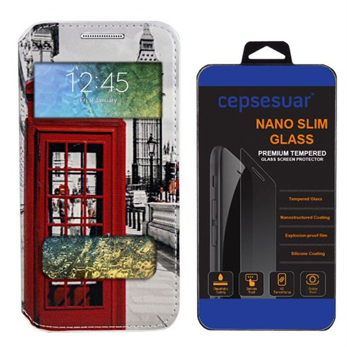 Cepsesuar Samsung Galaxy E7 Kılıf Standlı Telefon + Kırılmaz Cam