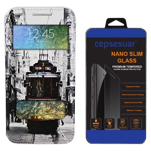 Cepsesuar Samsung Galaxy E7 Kılıf Standlı Tramvay + Kırılmaz Cam