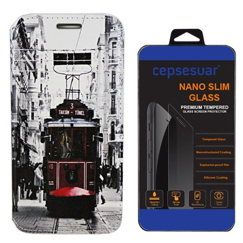 Cepsesuar Samsung Galaxy J2 Kılıf Standlı Tramvay + Kırılmaz Cam