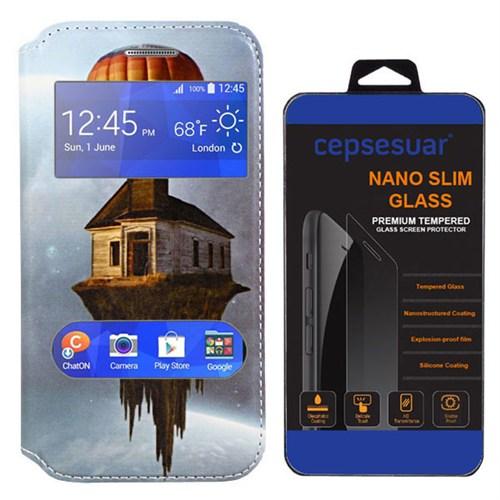 Cepsesuar Samsung Galaxy J2 Kılıf Pencereli Standlı Ev + Kırılmaz Cam
