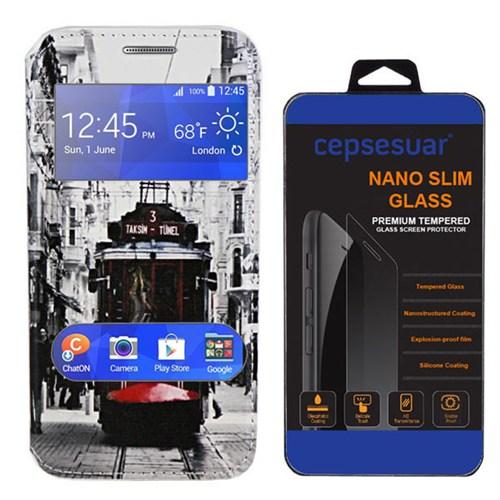 Cepsesuar Samsung Galaxy J2 Kılıf Pencereli Standlı Tramvay + Kırılmaz Cam