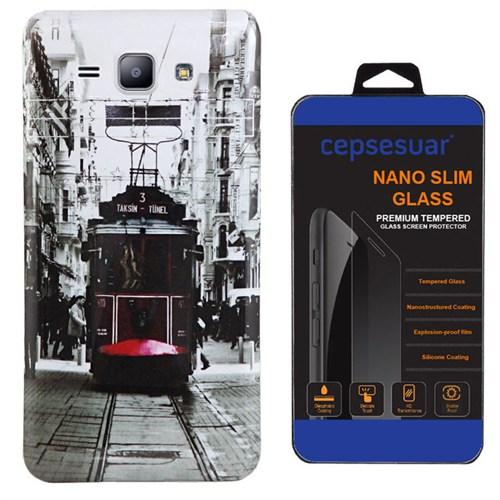 Cepsesuar Samsung Galaxy J2 Kılıf Silikon Resimli Tramvay + Kırılmaz Cam