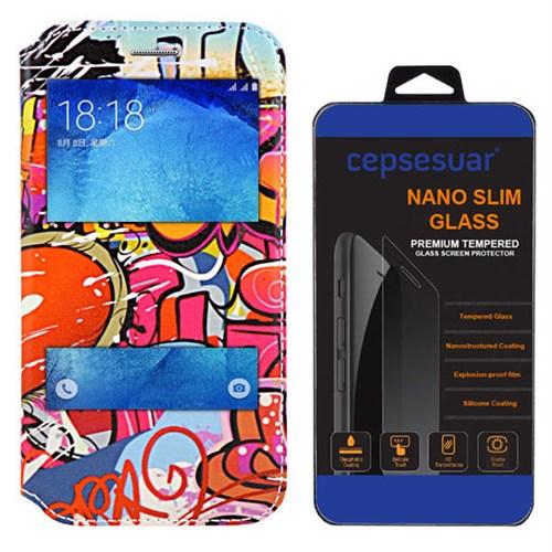 Cepsesuar Samsung Galaxy J5 Kılıf Standlı Grafiti + Kırılmaz Cam